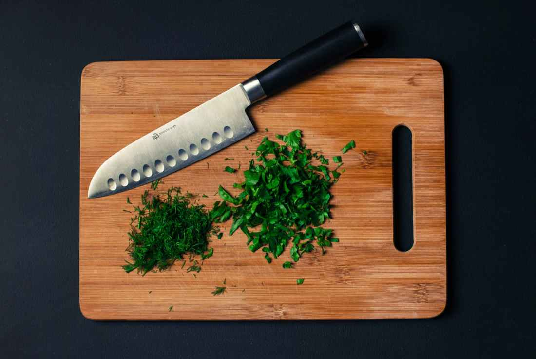 food knife dill chopped