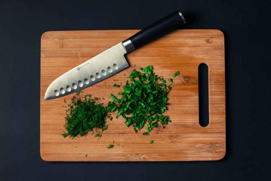 food knife dill chopped